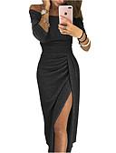 baratos Vestidos de Festa-Mulheres Festa Básico Pregueado Tubinho Bainha Vestido - Barra Assimétrica, Côr Sólida Sólido Ombro a Ombro Médio