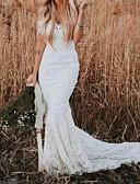 Χαμηλού Κόστους Βραδινά Φορέματα-Τρομπέτα / Γοργόνα Ώμοι Έξω Ουρά Δαντέλα Κοντομάνικο Φορέματα γάμου φτιαγμένα στο μέτρο με Εισαγωγή δαντέλας 2020