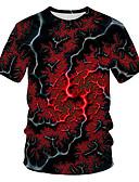 billige T-skjorter og singleter til herrer-T-skjorte Herre - Geometrisk / 3D, Trykt mønster Grunnleggende / Gatemote Rød