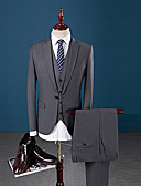 Χαμηλού Κόστους Κοστούμια-Γκρίζο Μονόχρωμο Τυπική εφαρμογή Πολυεστέρας Κοστούμι - Εγκοπή Μονόπετο Ενός Κουμπιού / Στολές