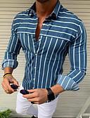זול חולצות לגברים-פסים חולצה - בגדי ריקוד גברים פרנזים צהוב / שרוול ארוך