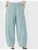 ราคาถูก กางเกงผู้หญิง-สำหรับผู้หญิง พื้นฐาน ขากว้าง กางเกง - ลายแถบ สีฟ้า สีแดงชมพู ใบไม้สีเขียวที่มีสามแฉก S M L