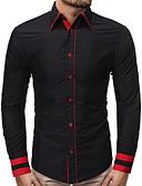 baratos Camisas Masculinas-Homens Tamanho Europeu / Americano Camisa Social Básico Patchwork, Estampa Colorida Preto / Manga Longa