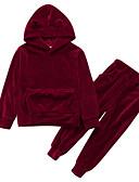 ราคาถูก ชุดเด็กผู้หญิง-เด็ก เด็กผู้หญิง ซึ่งทำงานอยู่ Street Chic ง่าย / ประจำวัน ชุดทำงาน สีพื้น แขนยาว ปกติ ชุดเสื้อผ้า ทับทิม