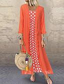 baratos Vestidos Longos-Mulheres Duas Peças Vestido Poá Médio
