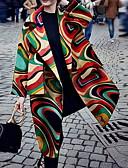 povoljno Ženski kaputi i baloneri-Žene Dnevno Dug Kaput, Geometrijski oblici Klasični rever Dugih rukava Poliester Duga