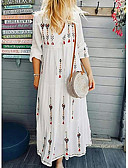 baratos Vestidos Longos-Mulheres Boho Reto Vestido - Estampado, Geométrica Longo
