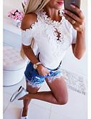 ราคาถูก เสื้อยืดสำหรับสุภาพสตรี-สำหรับผู้หญิง เสื้อเชิร์ต พื้นฐาน ลูกไม้ สีพื้น ขาว
