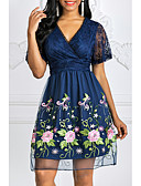 זול תחרה רומטנית-V עמוק עד הברך תחרה, פרחוני - שמלה גזרת A תחרה אלגנטית בגדי ריקוד נשים