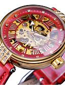 זול שעונים מכאניים-FORSINING בגדי ריקוד נשים שעון מכני פאר אלגנטית שחור אדום דמוי עור אוטומטי נמתח לבד שחור אודם עמיד במים זורח 30 m יחידה 1 אנלוגי / מתכת אל חלד