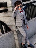 お買い得  男児 ウェアセット-子供 男の子 ベーシック ストライプ 長袖 アンサンブル グレー