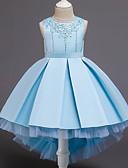 Χαμηλού Κόστους Λουλουδάτα φορέματα για κορίτσια-Παιδιά Νήπιο Κοριτσίστικα Γλυκός Εκλεπτυσμένο Μονόχρωμο Χάντρες Δίχτυ Κεντητό Αμάνικο Ασύμμετρο Φόρεμα Βυσσινί