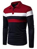 baratos Pólos Masculinas-Homens Polo Básico Patchwork, Estampa Colorida Preto e Vermelho Vermelho