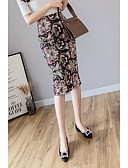 baratos Mini Vestidos-Mulheres Bodycon Saias - Floral Estampado Marron L XL XXL