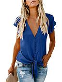 Χαμηλού Κόστους Μπλούζα-Γυναικεία Μπλούζα Βασικό Φλοράλ / Μονόχρωμο Λαιμόκοψη V Φαρδιά Στάμπα Μαύρο / Μπλε Μαύρο / Με Βολάν / flare μανίκι