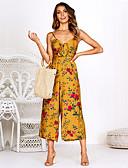 ราคาถูก จั๊มสูทและเสื้อคลุมสำหรับผู้หญิง-สำหรับผู้หญิง พื้นฐาน คอวีลึก สีเหลือง สีน้ำเงิน ทับทิม ขากว้าง หลวม ชุด Jumpsuits, ลายดอกไม้ S M L