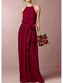 זול שמלות שושבינה-גזרת A קולר עד הריצפה שיפון שמלה לשושבינה  עם פפיון(ים) על ידי LAN TING Express