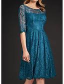 Χαμηλού Κόστους Βραδινά Φορέματα-Γραμμή Α Με Κόσμημα Μέχρι το γόνατο Δαντέλα Μισό μανίκι See Through Φόρεμα Μητέρας της Νύφης με Δαντέλα / Πλισέ 2020