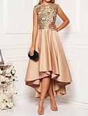billige Cocktailkjoler-Dame Elegant A-linje Kjole - Blomstret, Trykt mønster Asymmetrisk