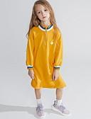 Χαμηλού Κόστους Γαμήλιες Εσάρπες-Παιδιά Κοριτσίστικα Βασικό Στάμπα Μακρυμάνικο Φόρεμα Κίτρινο