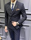 זול טוקסידו-שחור / אפור בהיר / כחול נייבי פסים גזרה רגילה פוליאסטר חליפה - פתוח Double Breasted Four-button
