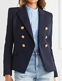 billige Blazere til damer-Dame Blazer Spissjakkeslag Polyester Navyblå