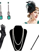 cheap Historical & Vintage Costumes-Vintage 1920s The Great Gatsby Gloves Flapper Headband Women's Feather Costume Necklace Earrings White / Green Vintage Cosplay Festival
