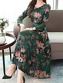 povoljno Print Dresses-Žene Osnovni Kinezerije A kroj Swing kroj Haljina - Kolaž Print, Jednobojni Color block Midi