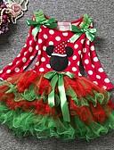 olcso Bébi ruházat-Baba Lány Alap Pöttyös / Karácsony Hosszú ujj Pamut Ruha Rubin / Kisgyermek