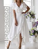 olcso Női ruhák-Női Extra méret Szexi A-vonalú Ruha - Fodrozott Wrap, Egyszínű Midi V-alakú