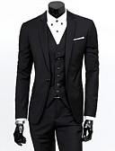 ราคาถูก เบลเซอร์ &สูทผู้ชาย-สำหรับผู้ชาย ชุด, สีพื้น ปกคอแบะของเสื้อแบบน็อตช์ เส้นใยสังเคราะห์ สีดำ / ทับทิม / สีน้ำเงินกรมท่า