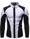 baratos Camisas Masculinas-Homens Camisa Social Básico Patchwork, Estampa Colorida Preto