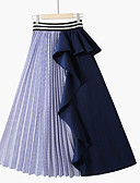 זול חצאיות לנשים-קולור בלוק - חצאיות גזרת A בסיסי בגדי ריקוד נשים שחור פול מידה אחת