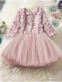 baratos Vestidos para Meninas-Infantil Para Meninas Sólido Altura dos Joelhos Vestido Rosa