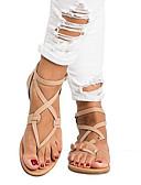 ราคาถูก เสื้อเอวลอยสำหรับผู้หญิง-สำหรับผู้หญิง รองเท้าแตะ ส้นแบน ปลายกลม PU ฤดูร้อน สีดำ / สีน้ำตาล / สีทอง