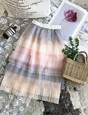 זול חצאיות לבנות-חצאית קולור בלוק בנות ילדים