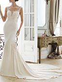 baratos Vestidos de Noite-Sereia Decorado com Bijuteria Cauda Escova Renda / Cetim Elástico Alças Regulares Vestidos de casamento feitos à medida com Miçangas / Apliques 2020