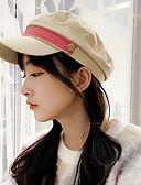 Χαμηλού Κόστους Women's Hats-Γυναικεία Συνδυασμός Χρωμάτων Ενεργό Βασικό χαριτωμένο στυλ Βαμβάκι Μπερές Όλες οι εποχές Μαύρο Κίτρινο Θαλασσί