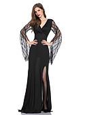 זול שמלות במידות גדולות-V עמוק מקסי תחרה, אחיד - שמלה נדן בגדי ריקוד נשים