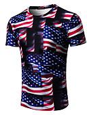 billige T-skjorter og singleter til herrer-T-skjorte Herre - Fargeblokk / 3D / Tegneserie, Trykt mønster Gatemote / overdrevet Regnbue