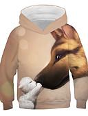 baratos Moletons Para Meninas-Infantil Para Meninas Activo Moda de Rua Estampado 3D Animal Estampado Manga Longa Moleton & Blusa de Frio Khaki
