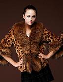 povoljno Ženske kaputi od kože i umjetne kože-Žene Dnevno Zima Kratak Faux Fur Coat, Leopard Ovratnika 3/4 rukava Umjetno krzno Braon