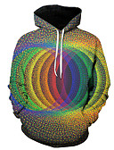 povoljno Kvarcni satovi-Muškarci Ležerne prilike / Ulični šik Hoodie Color block / 3D