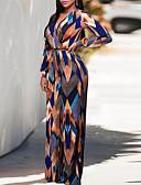 Χαμηλού Κόστους Γυναικείες μακριές και μίνι ολόσωμες φόρμες-Γυναικεία Κομψό στυλ street Βαθύ V Βαθυγάλαζο Πλατύ Πόδι Φόρμες Ολόσωμη φόρμα, Γεωμετρικό Τ M L