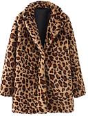 ราคาถูก โค้ท & เทรนช์โค้ทผู้หญิง-สำหรับผู้หญิง ทุกวัน วินเทจ ฤดูหนาว ปกติ เสื้อโค้ท, ลายเสือ ปกคอแบะของเสื้อแบบพึค แขนยาว ฝ้าย สีน้ำตาล