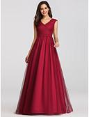 Χαμηλού Κόστους Βραδινά Φορέματα-Γραμμή Α Λαιμόκοψη V Μακρύ Δαντέλα / Τούλι Κομψό / Εμπνευσμένο από Βίντατζ Χοροεσπερίδα Φόρεμα 2020 με Χιαστί