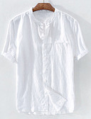 baratos Calças e Shorts Masculinos-Homens Tamanho Europeu / Americano Camisa Social Básico Patchwork, Sólido Linho Colarinho Clerical Branco