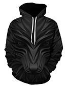 billige T-skjorter og singleter til herrer-Herre Store størrelser Fritid / Gatemote Med hette Hattetrøje Geometrisk / 3D