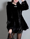 povoljno Ženske kaputi od kože i umjetne kože-Žene Dnevno Zima Normalne dužine Faux Fur Coat, Jednobojni S kapuljačom Dugih rukava Umjetno krzno Obala / Crn
