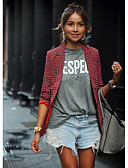 billige Blazere til damer-Dame Blazer, Geometrisk Hakkjakkeslag Polyester Rød